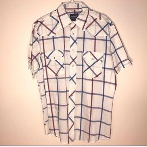 Wrangler western white striped short sleeve shirt